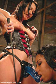 Nylon femdom with strapon wives