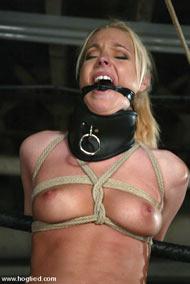 Nude blond bondage